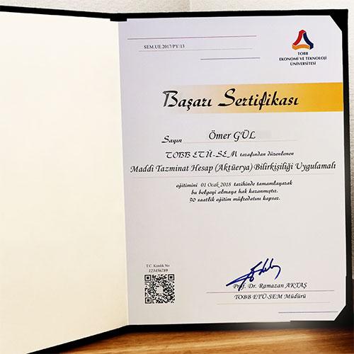 Maddi Tazminat Hesap (Aktüerya) Bilirkişiliği Uygulamalı Sertifika Programı